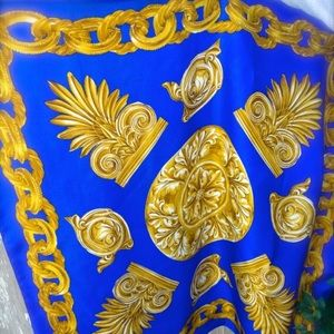 Vintage Blue and Gold Silk Scarf